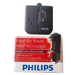 adaptateur de voyage a 3 prises et 2 potrs de charge USB