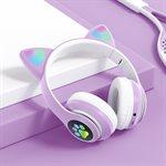 Casque Bluetooth + mic avec oreille de chat Mauve